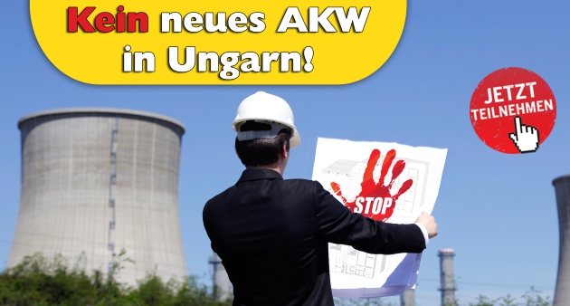 Aktionslogo: Kein neues AKW in Ungarn!